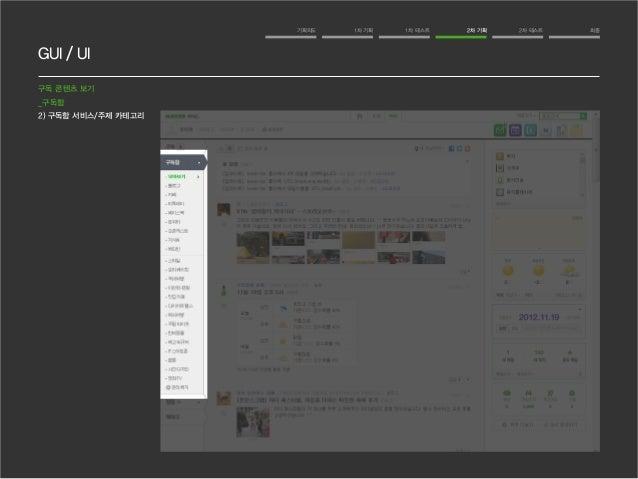 GUI / UI  기획의도 1차 기획 1차 테스트 2차 기획 2차 테스트 최종  구독 콘텐츠 보기  _구독함  2) 구독함 서비스/주제 카테고리