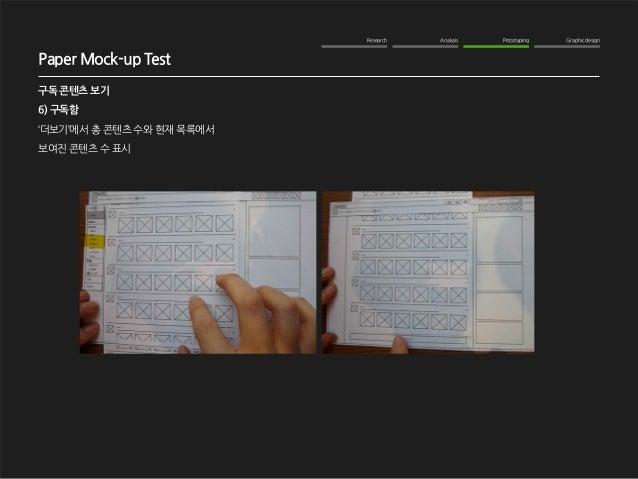 Research Analysis Prototyping Graphic design  WOM Analysis  2012. 10. 16  NAVER me 구독기능 강화  구독 콘텐츠 보기  6) 구독함  '더보기'에서 총 콘...