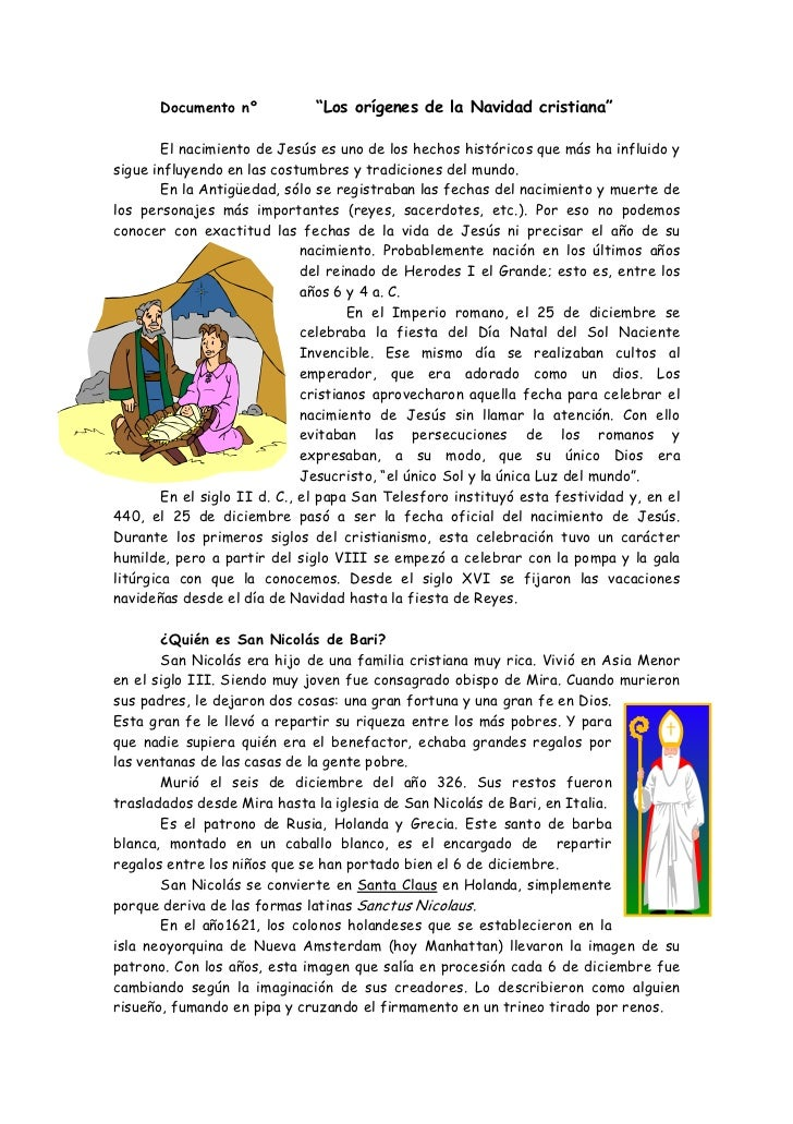 """Documento nº           """"Los orígenes de la Navidad cristiana""""        El nacimiento de Jesús es uno de los hechos histórico..."""