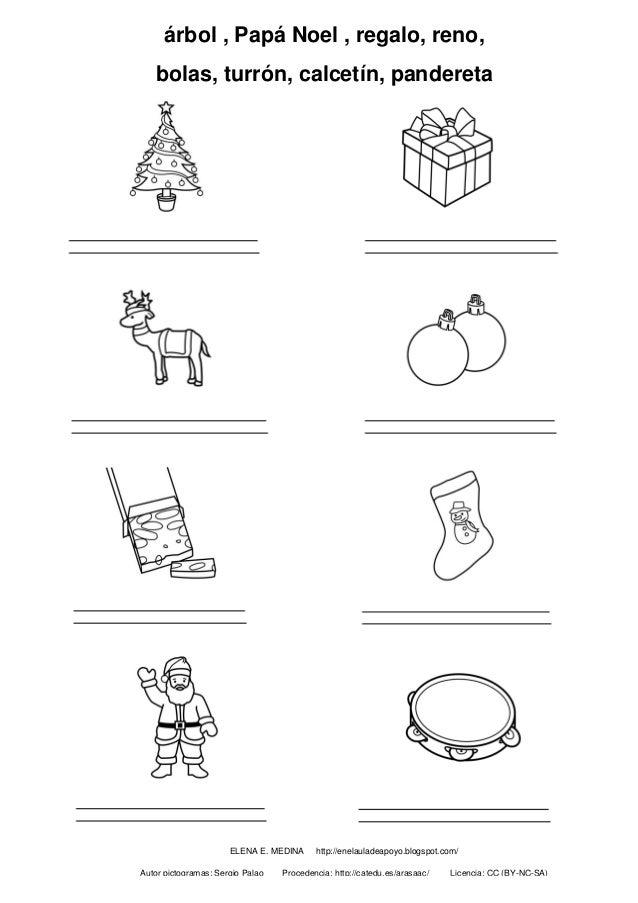 árbol , Papá Noel , regalo, reno, bolas, turrón, calcetín, pandereta ELENA E. MEDINA http://enelauladeapoyo.blogspot.com/ ...