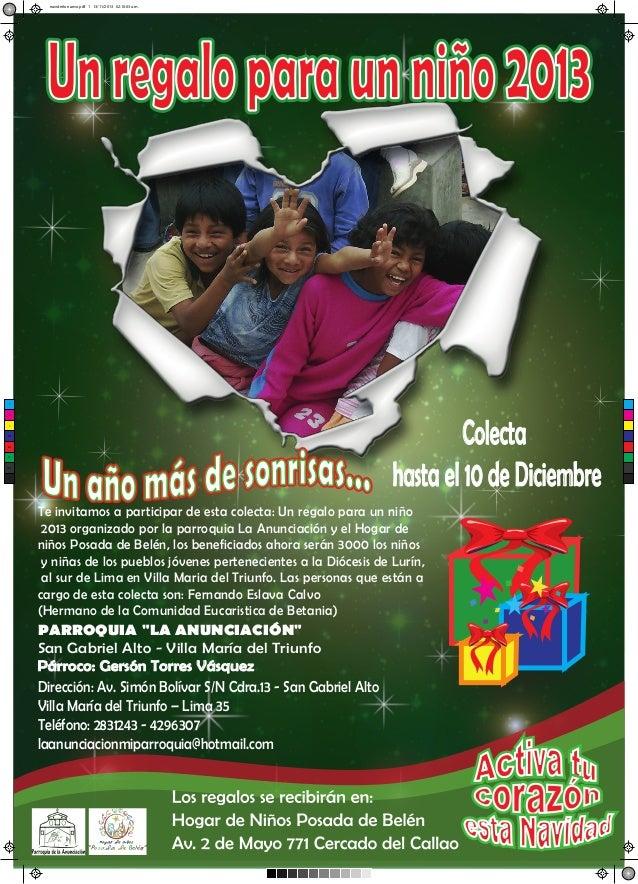navideño nuevo.pdf 1 13/11/2013 02:10:03 a.m.  Un regalo para un niño 2013  C  Colecta hasta el 10 de Diciembre  M  Y  CM ...