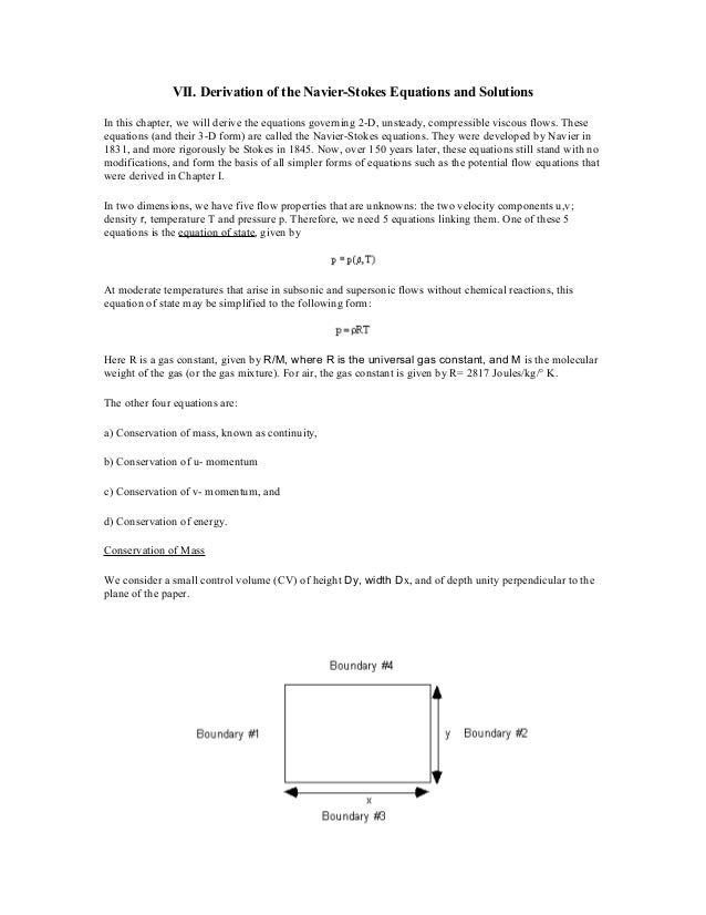 VII. Derivation of the Navier-Stokes Equations and Solutions In this chapter, we will derive the equations governing 2-D, ...