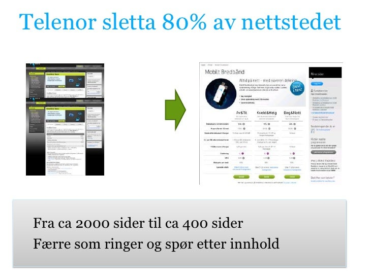 Telenor sletta 80% av nettstedet<br />Fra ca 2000 sider til ca 400 sider<br />Færre som ringer og spør etter innhold<br />