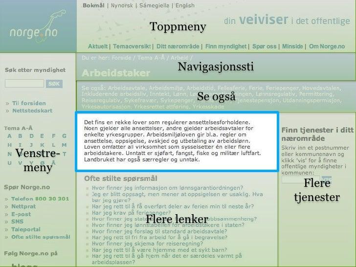 Toppmeny<br />Venstre-meny<br />Navigasjonssti<br />Se også<br />Flere tjenester<br />Flere lenker<br />