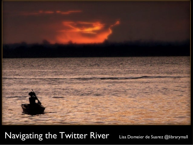 Navigating the Twitter River Lisa Domeier de Suarez @librarymall