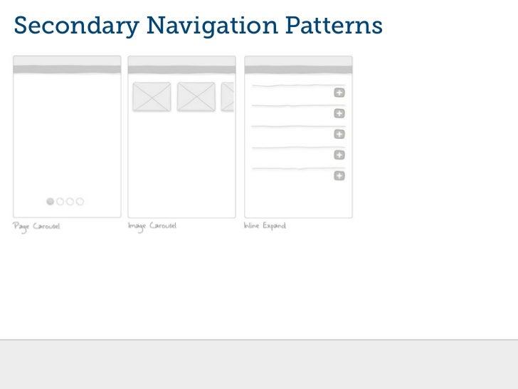 ผลการค้นหารูปภาพสำหรับ Secondary Navigation Patterns