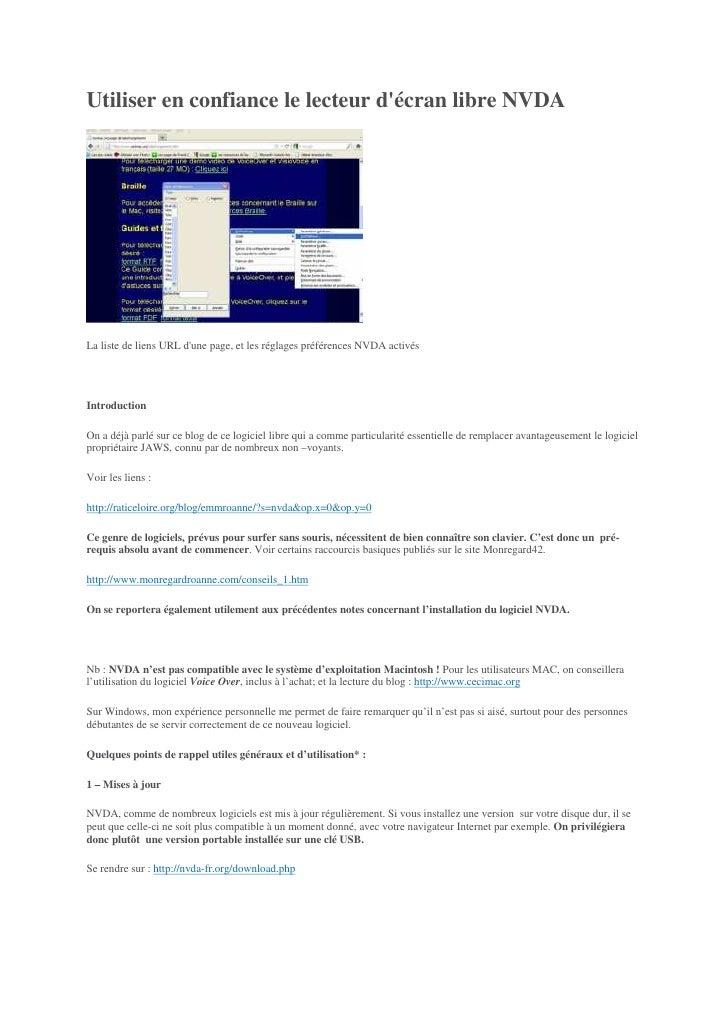 Utiliser en confiance le lecteur décran libre NVDALa liste de liens URL dune page, et les réglages préférences NVDA activé...