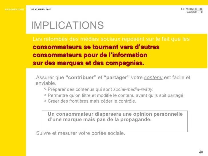 """IMPLICATIONS <ul><ul><li>Assurer que  """" contribuer """"   et  """" partager """"  votre  contenu  est facile et enviable. </li></ul..."""