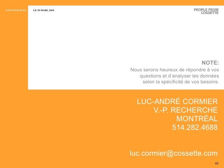 <ul><li>LUC-ANDRÉ CORMIER </li></ul><ul><li>V.-P. RECHERCHE </li></ul><ul><li>MONTRÉAL </li></ul><ul><li>514.282.4688 </li...