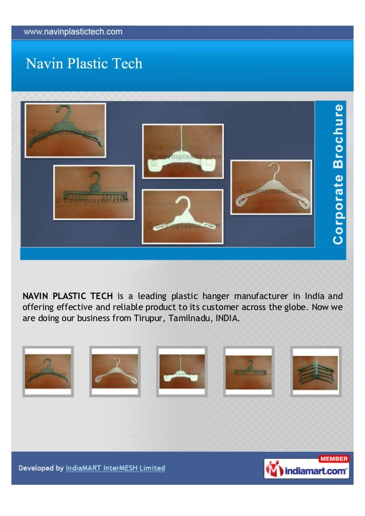 NAVIN PLASTIC TECH is a leading plastic hanger manufacturer in India andoffering effective and reliable product to its cus...