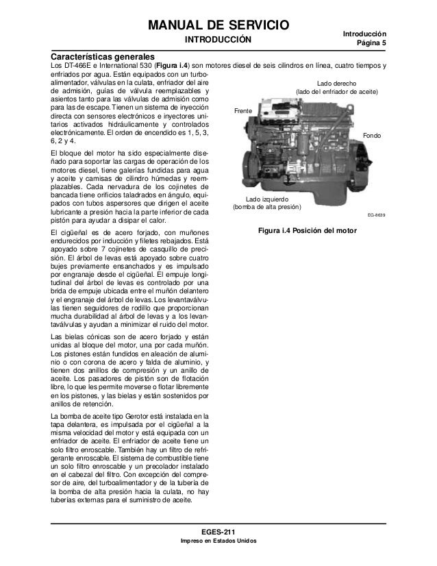 navistar manual de servicio dt466 i530e rh es slideshare net International DT466E Service Manual International DT466E Service Manual