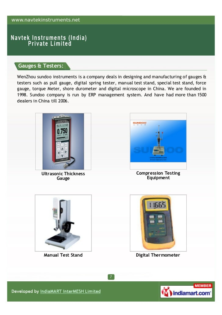 Electronic Testing Instruments : Navtek instruments india private limited mumbai