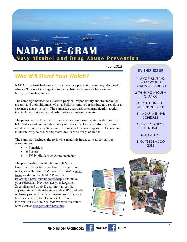 NADAP l E-GRAM s e Navy Alcoho and Drug Abu                                           Prevention                          ...