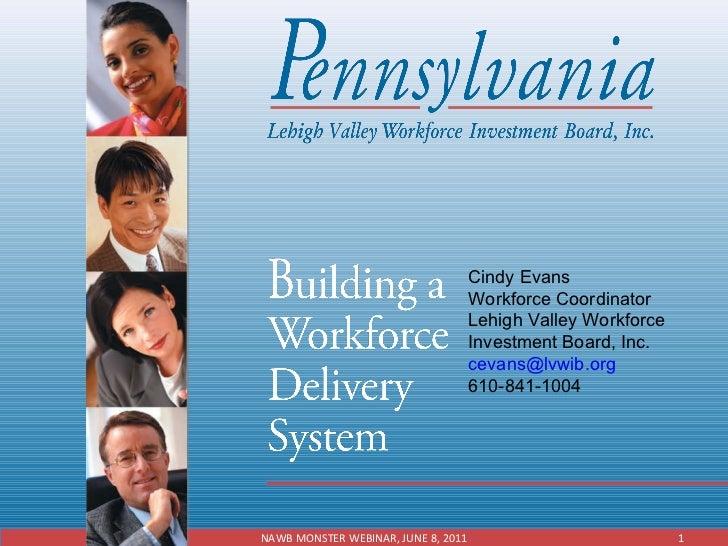 Cindy Evans Workforce Coordinator Lehigh Valley Workforce Investment Board, Inc. [email_address] 610-841-1004 NAWB MONSTER...