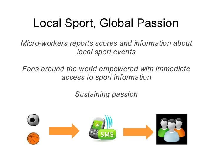 Local Sport, Global PassionMicro-workers reports scores and information about                local sport eventsFans around...
