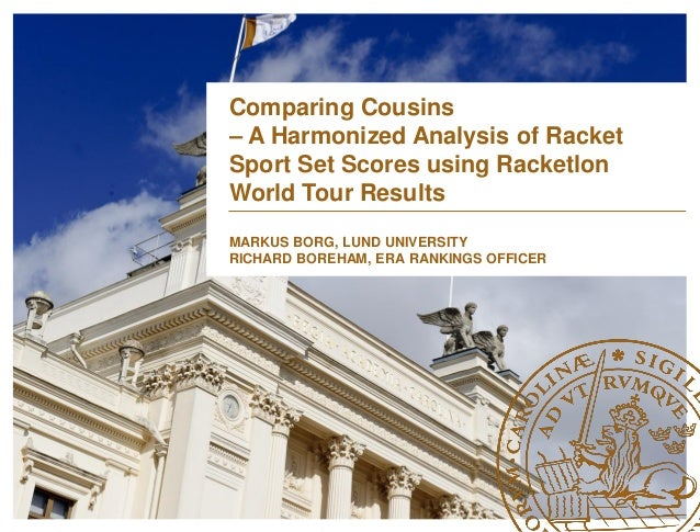 Comparing Cousins – A Harmonized Analysis of Racket Sport Set Scores using Racketlon World Tour Results MARKUS BORG, LUND ...
