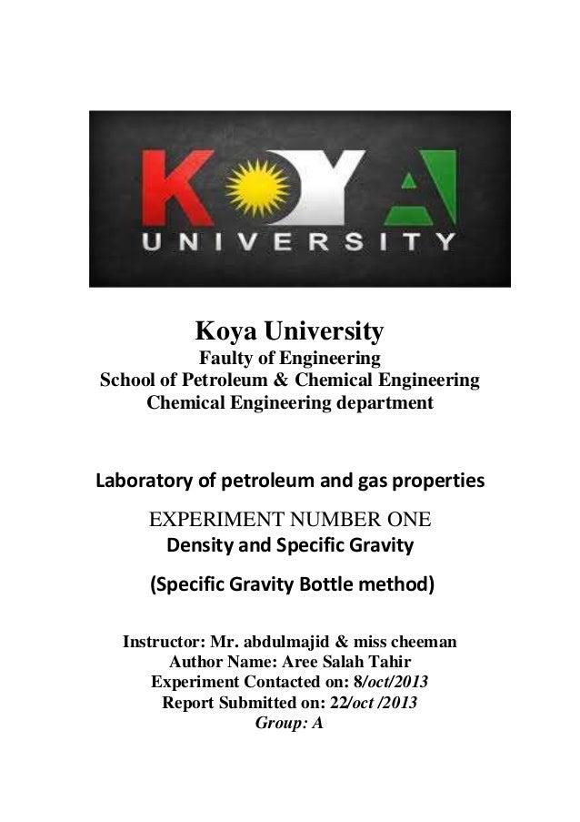 Koya University Faulty of Engineering School of Petroleum & Chemical Engineering Chemical Engineering department Laborator...