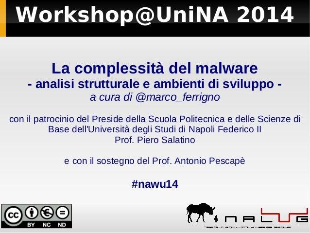 Workshop@UniNA 2014 La complessità del malware - analisi strutturale e ambienti di sviluppo - a cura di @marco_ferrigno co...