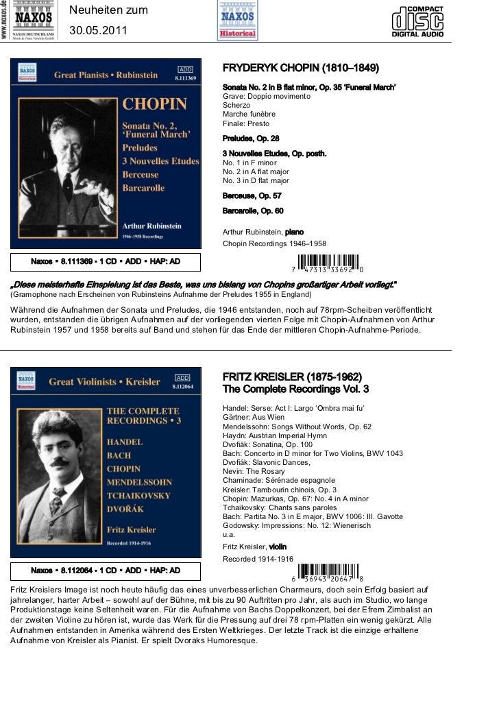 Neuheiten zum                30.05.2011                                                         FRYDERYK CHOPIN (1810–1849...