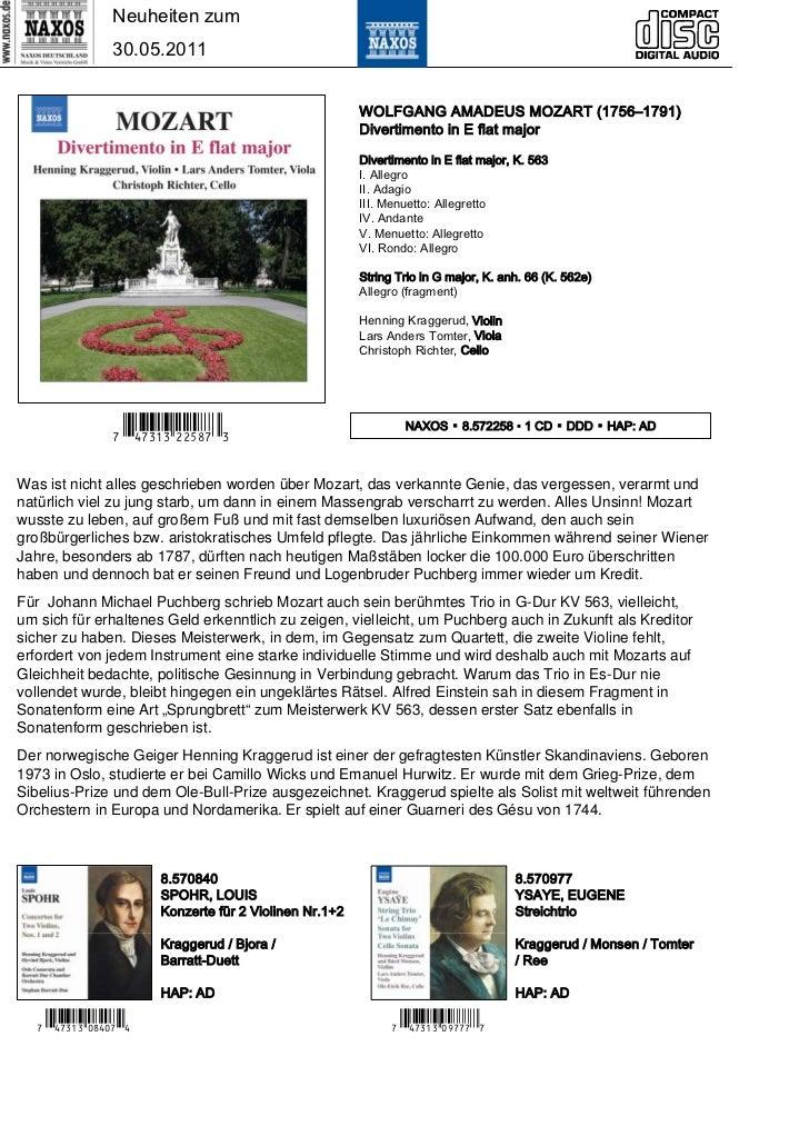 Neuheiten zum                 30.05.2011                                                         WOLFGANG AMADEUS MOZART (...