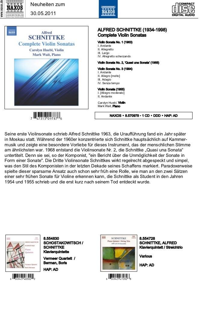 Neuheiten zum                30.05.2011                                              ALFRED SCHNITTKE (1934-1998)         ...