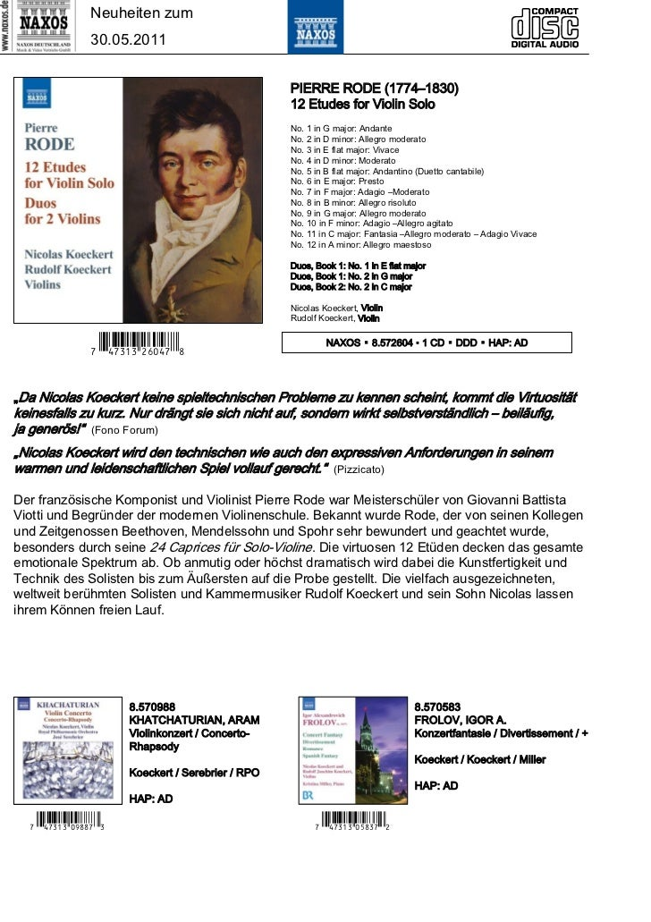 Neuheiten zum                30.05.2011                                                    PIERRE RODE (1774–1830)        ...
