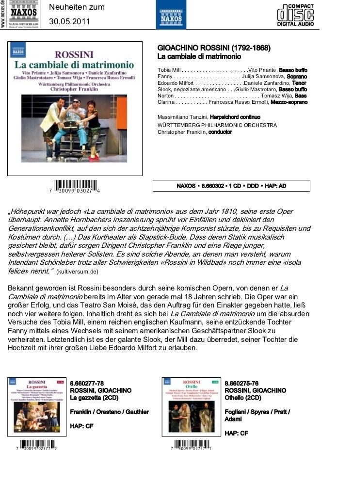 Neuheiten zum                30.05.2011                                                        GIOACHINO ROSSINI (1792-186...
