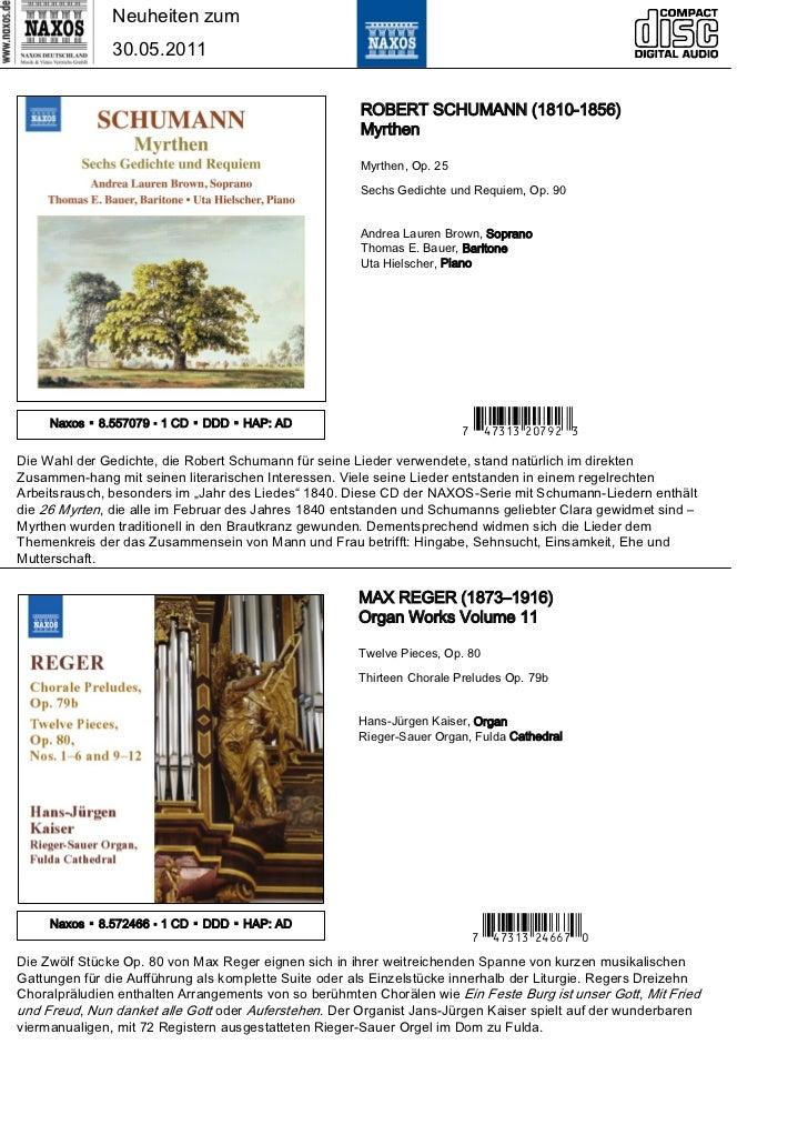 Neuheiten zum               30.05.2011                                                       ROBERT SCHUMANN (1810-1856)  ...