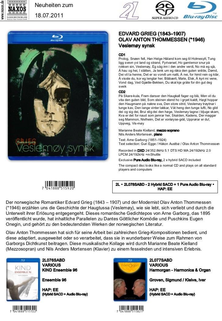 CD-Neuheiten Juli 2011 (Im Vertrieb der NAXOS Deutschland GmbH) Slide 2