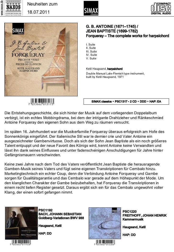 CD-Neuheiten Juli 2011 (Im Vertrieb der NAXOS Deutschland GmbH) Slide 3