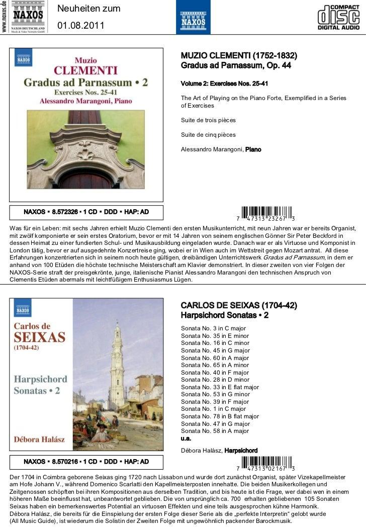 Neuheiten zum                 01.08.2011                                                              MUZIO CLEMENTI (1752...