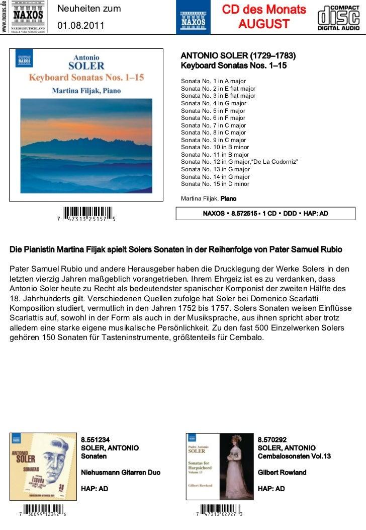 Neuheiten zum                                   CD des Monats                01.08.2011                                   ...
