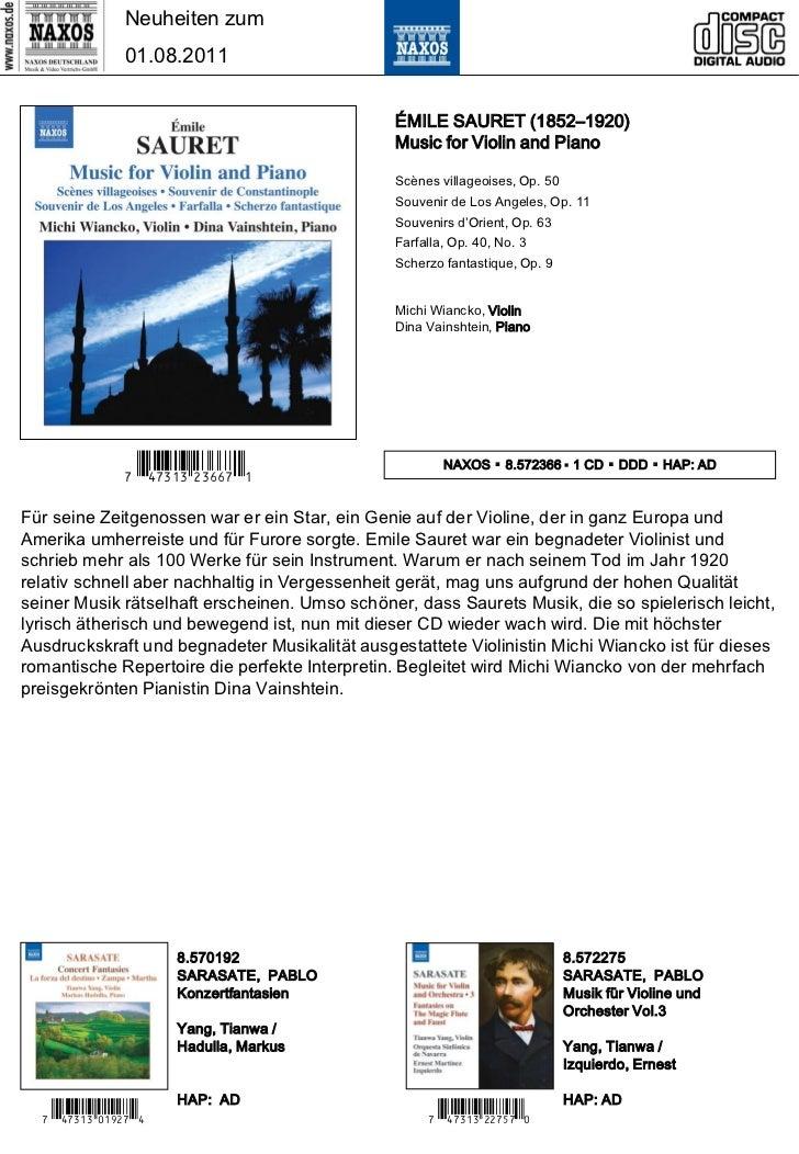 Neuheiten zum                01.08.2011                                               ÉMILE SAURET (1852–1920)            ...