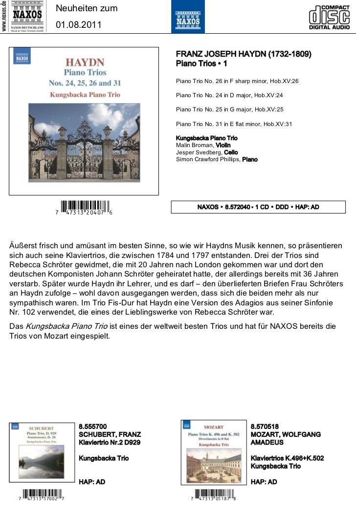 Neuheiten zum                01.08.2011                                               FRANZ JOSEPH HAYDN (1732-1809)      ...