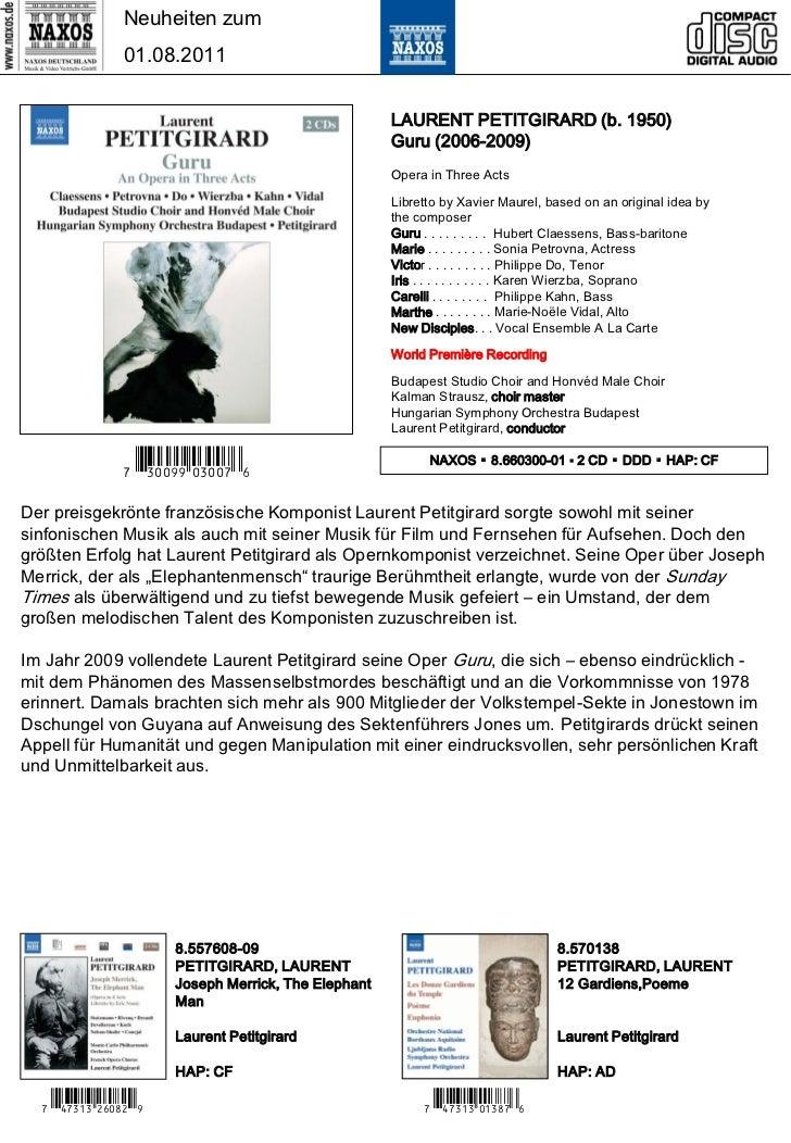 Neuheiten zum                01.08.2011                                                      LAURENT PETITGIRARD (b. 1950)...