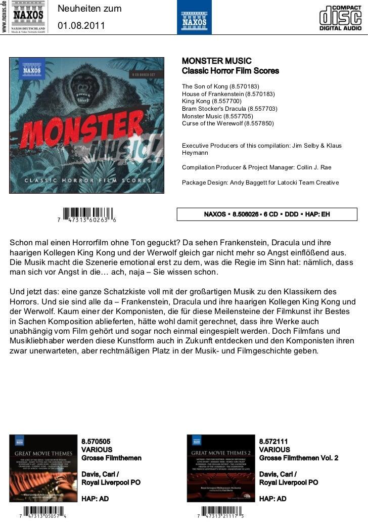 Neuheiten zum                01.08.2011                                              MONSTER MUSIC                        ...