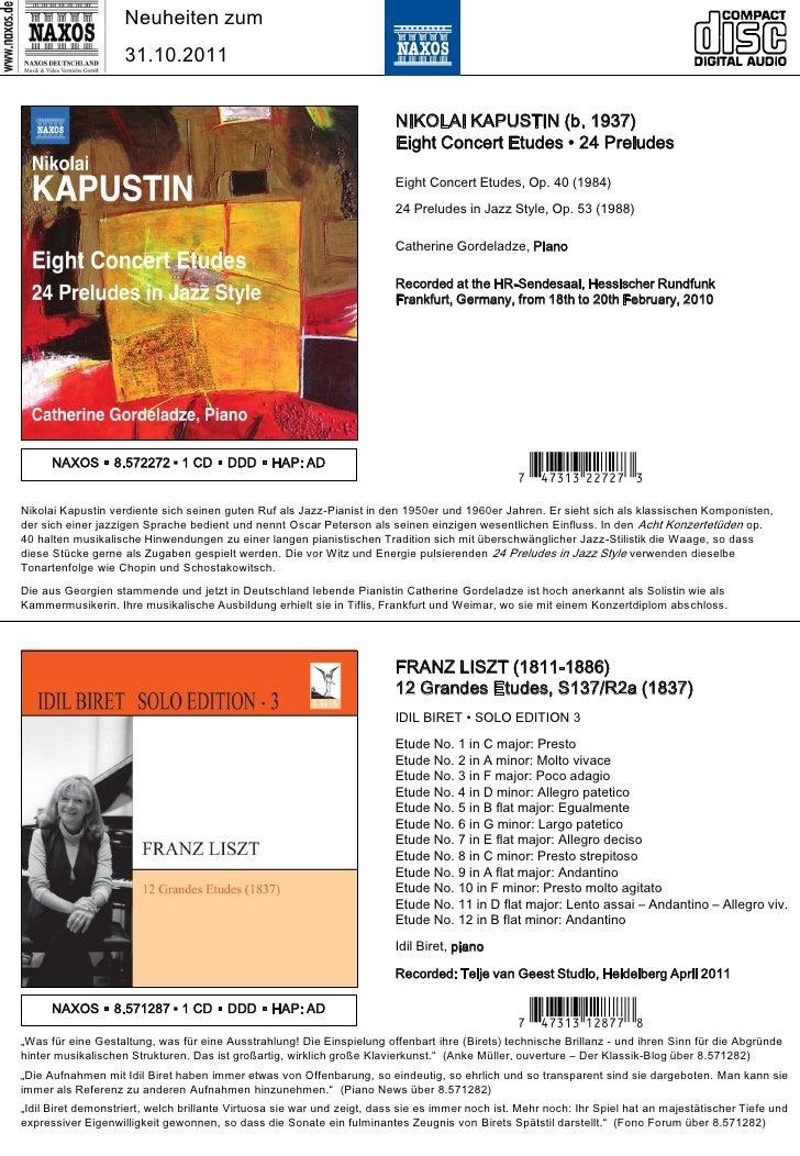 NAXOS Deutschland CD-Neuheiten November 2011