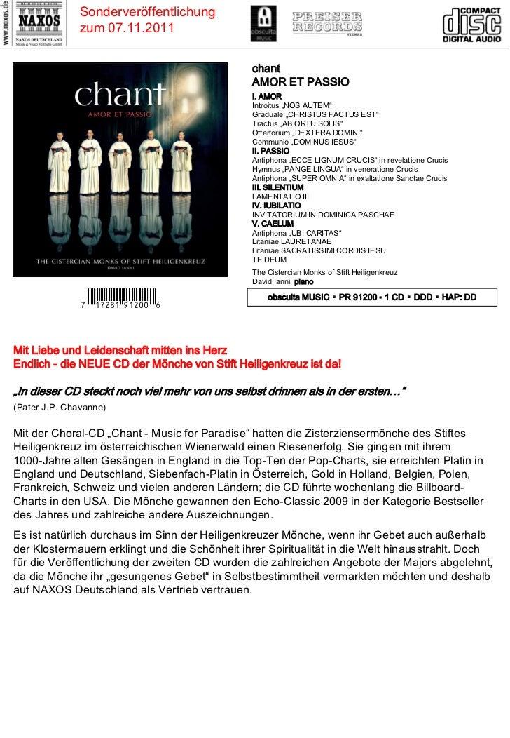 DVD- und CD-Neuheiten November 2011 (Im Vertrieb der NAXOS Deutschland GmbH) Slide 2