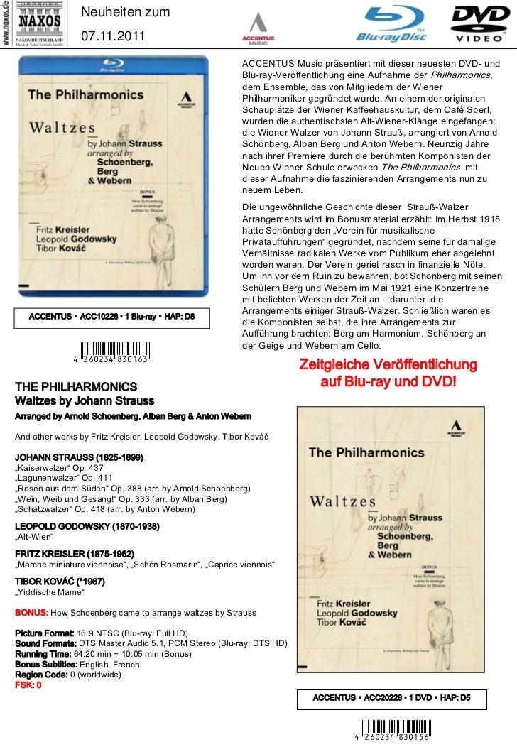 DVD- und CD-Neuheiten November 2011 (Im Vertrieb der NAXOS Deutschland GmbH) Slide 3