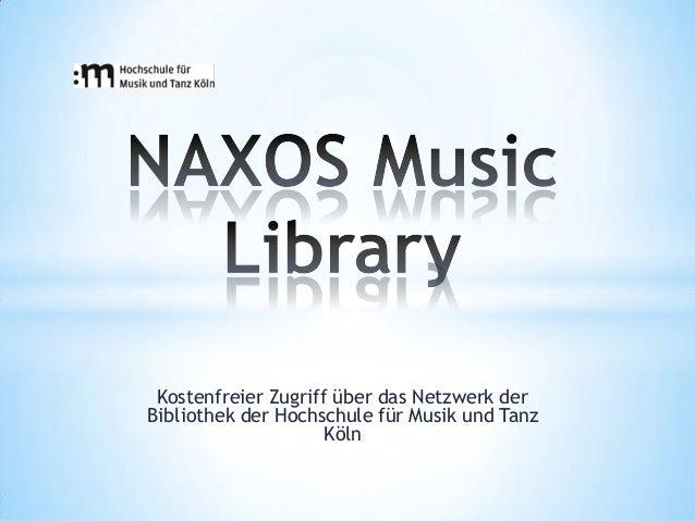 Kostenfreier Zugriff über das Netzwerk derBibliothek der Hochschule für Musik und Tanz                     Köln