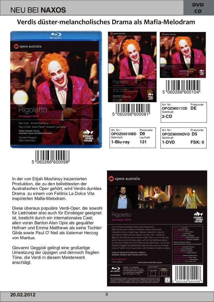 DVD                                                       CDIn der von Elijah Moshinsy inszeniertenProduktion, die zu den ...
