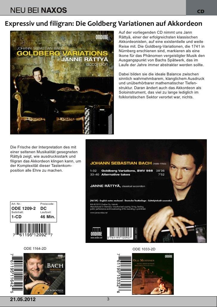 Blu-ray, DVD- und CD-Neuheiten Mai 2012 Nr. 3 (Im Vertrieb der NAXOS Deutschland GmbH) Slide 3