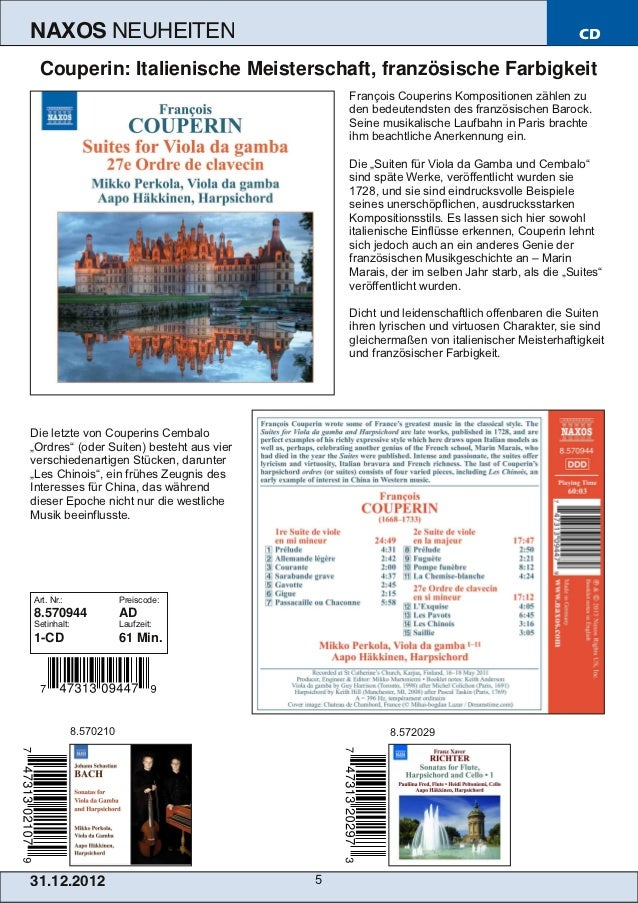 NAXOS               NEUHEITEN                                                              CD  Couperin: Italienische Meis...