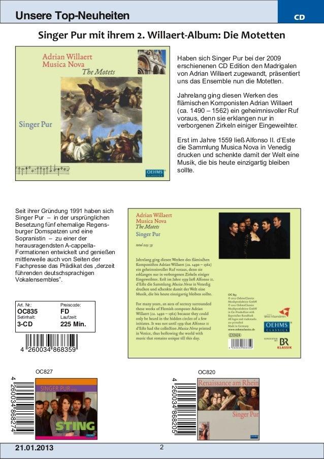 Blu-ray, DVD- und CD-Neuheiten Januar 2013 Nr. 3 (Im Vertrieb der NAXOS Deutschland GmbH) Slide 2