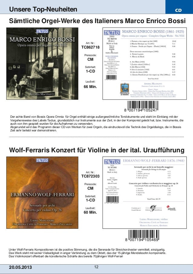 CD20.05.201 3 12Unsere Top-NeuheitenUnter WolfFerraris Kompositionen ist die positive Stimmung, die die Serenade für Stre...