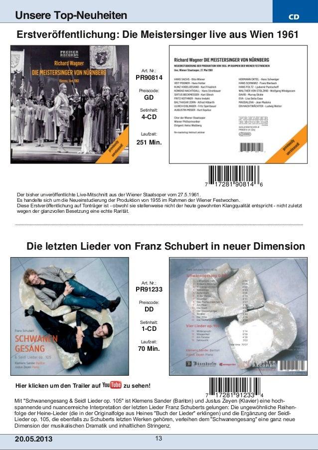 """CD20.05.201 3 13Unsere Top-NeuheitenMit """"Schwanengesang & Seidl Lieder op. 105"""" ist Klemens Sander (Bariton) und Justus Ze..."""