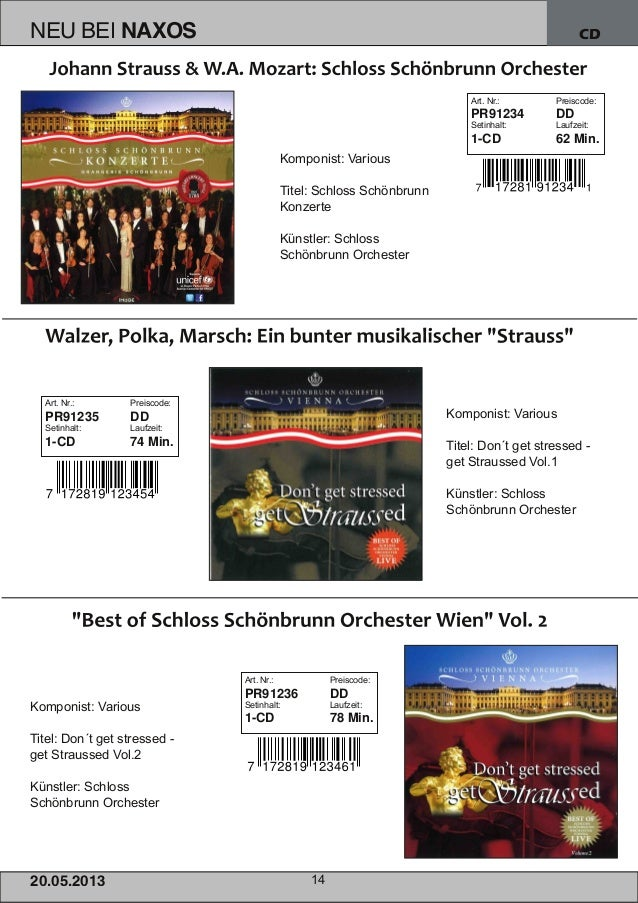 CD20.05.201 3 14NEU BEI NAXOSKomponist: VariousTitel: Schloss SchönbrunnKonzerteKünstler: SchlossSchönbrunn OrchesterKompo...