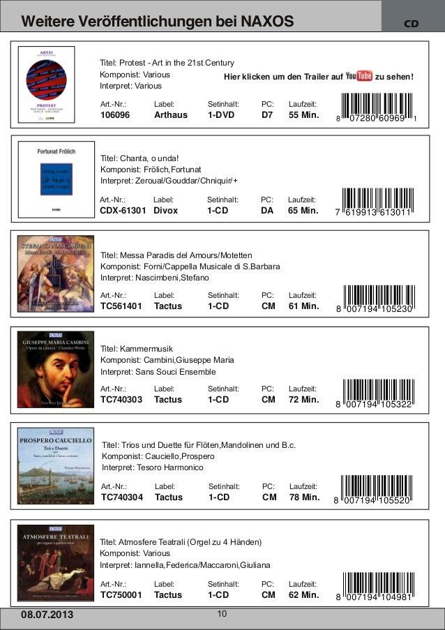 08.07.201 3 10 Weitere Veröffentlichungen bei NAXOS CD Art.Nr.: Label: Setinhalt: PC: Laufzeit: 106096 Arthaus 1DVD D7 5...