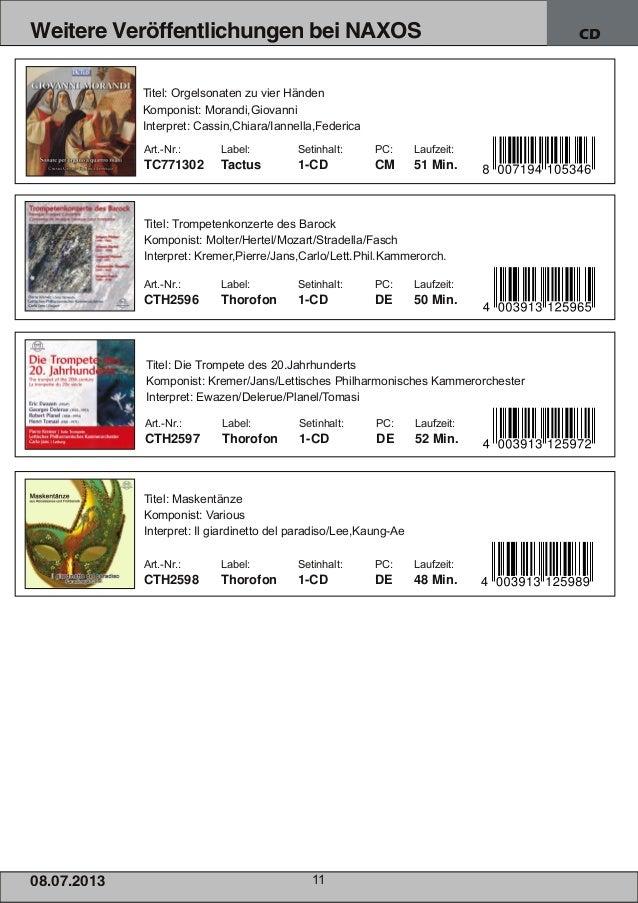 08.07.201 3 11 Weitere Veröffentlichungen bei NAXOS CD Art.Nr.: Label: Setinhalt: PC: Laufzeit: TC771302 Tactus 1CD CM 5...