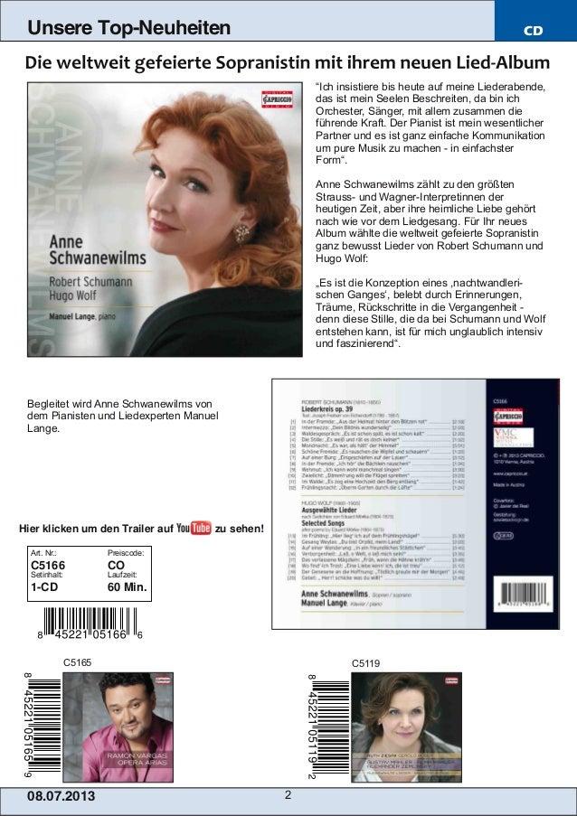 """08.07.201 3 2 Unsere Top-Neuheiten CD """"Ich insistiere bis heute auf meine Liederabende, das ist mein Seelen Beschreiten, d..."""